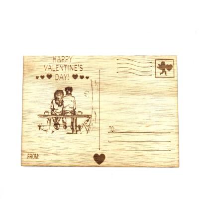 """Ξύλινη card postal """"HAPPY VALENTINES DAY"""""""