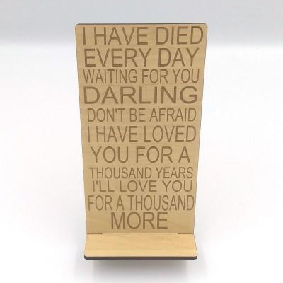 Stand κινητού με μήνυμα ξύλινο