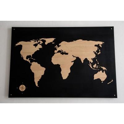 Παγκόσμιος χάρτης , πίνακας σε μεταλλική επιφάνεια